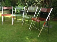 4 metal folding 60's/70's style chairs.