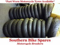 Part Worn Motorcycle Tyres Available. Various Sizes Including 120/70-17, 120/60-17, 180/55-17 & More