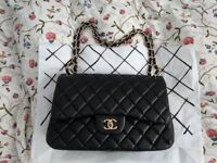 Chanel lambskin leather double flap handbag Coco cc black gold hardware & dustbag