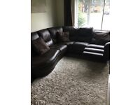 Brown Leather Corner Sofa with recliner end - great condition