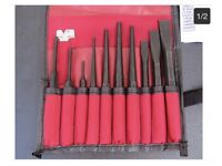 Snap on punch and chisel set