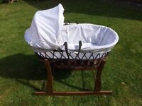 Wooden wicker moses basket with rocking stand
