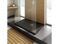 Imperia Shower Tray (New) RRP £300 - 1200x800mm Rectangular Slate Effect with Chrome Waste