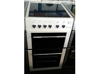 O436 white flavel 50cm ceramic hob electric cooker comes with warranty can be delivered or collected
