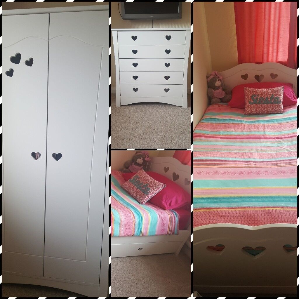 Bed furniture with drawers - Girls Mia Bedroom Furniture Wardrobe Chest Of Drawers Single Bed With Drawer