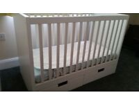 Ikea stuva cot with drawers and mattress