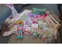 Huge Girls Nursery Set: Bedding Bumper Frames Mirror Nappy Holder Toys Clock and More BARGAIN £20!!
