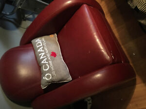 Burgundy accent leather chair