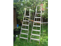 Step Ladders - one sets of aluminum step ladders left