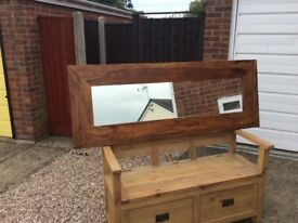 Heavy chunky teak wall mirror collect LN12