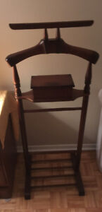 Men's vtg solid mahogany suit rack with compartment for storage