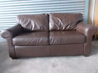 Two large matching Brown Leather 2-seater Sofas