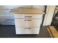 3 drawer white chrome kitchen unit with worktop like new.