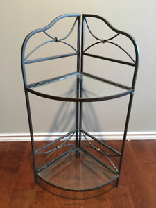 WROUGHT IRON AND GLASS TABLE / SHELF - EXCELLENT CONDITION!!!