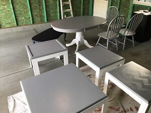 Oak kitchen table, chairs, coffee tables,