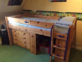 Thuka Pine Cabin bed/mid sleeper with desk/book shelf/draws