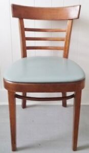 Mid Century VINYL WOOD Chair GREY Antique Vintage