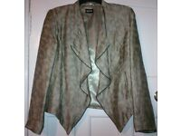 Marks & Spencer, Per Una Speziale, Bronze Print Linen Blend Drape Waterfall Blazer Jacket, UK 16