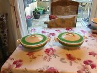 Lovely green and cream tureens. Creampetal design by grindley.