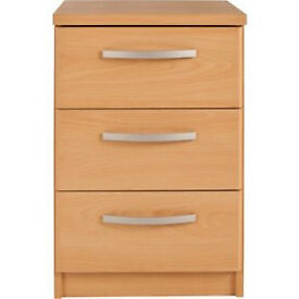 New Hallingford 3 Drawer Bedside Chest - Beech Effect