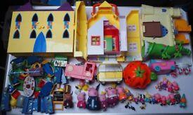 Peppa pig playsets and figures bundle - camper van, castles, fire engine, etc.