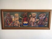 Beautiful Teddy Bear Picture by SR Sanders - Wood Frame - Baby Nursery or Childs Bedroom Furniture