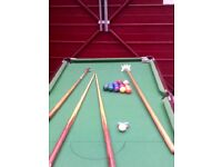 snooker and pool table, 6x3, 2 sets balls, 6+ cues & rests,score ,triangle