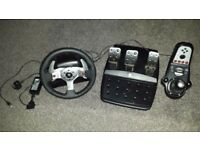Logitech G25 Racing Steering Wheel - USB - PC / PS3 - With Shifter/Gears