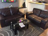 Dark brown genuine leather 2x2 seater sofas