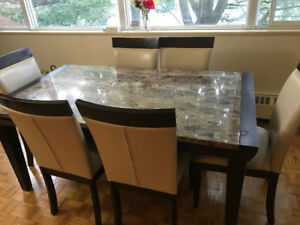 Marble Dinning table with 6 chairs