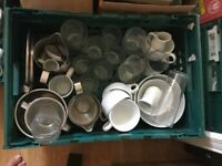 Job lot of glasses,mugs,coffee cups,saucers,milk jugs etc