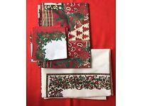 Christmas table cloths. Two cloths and napkins