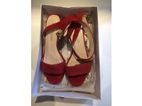 Used Russell bromley suede red heels