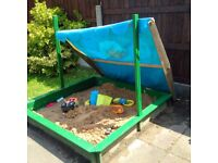 Large Wooden Sandbox Sandpit 150cmx150cm with cover and Police Little Tykes Car