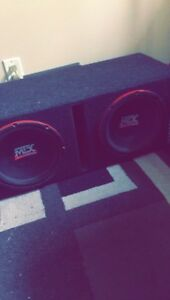 Two 10 inch MTX Audio Subwoofers(amp included)