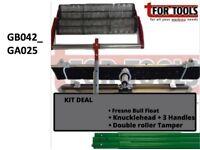 Concrete Double Roller Tamper 900mm & Fresno Bull float + Knucklehead 3 Poles