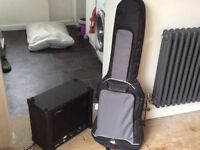 Electric guitar ' Eastcoast', with case and amplifier