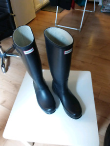 Hunter boots with winter sock inserts. Size 10