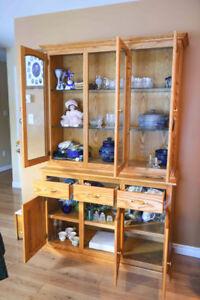 Custom Made Solid Oak China Cabinet/Hutch