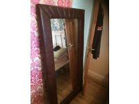 Leather brown mirror