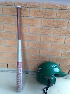 Softball bat and helmet
