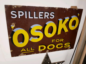 Porcelain Vintage Sign Spillers Osoko Dogs Advertising
