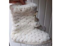 Pull On Sequin Fluffy Pom Pom Slipper Boots - New with Tags Size UK 4