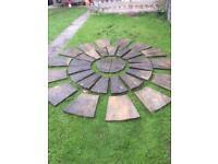 Stone circle . Garden flags