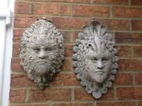 Pair stone garden green man and green lady wall plaques, fantastic detail. New