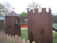 stunning double wooden castle / fort / climbing frame by all out play - cost 4000 new