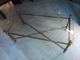 Vintage glass & brass coffee table 1970's very high quality good condition surrey interiors london