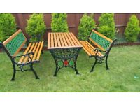 Garden table and benches cast iron great condition
