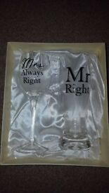Mr & Mrs pint and wine glasses Wedding gift