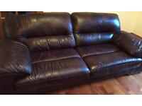3 Seater Brown Leather Sofa WILL DELIVER